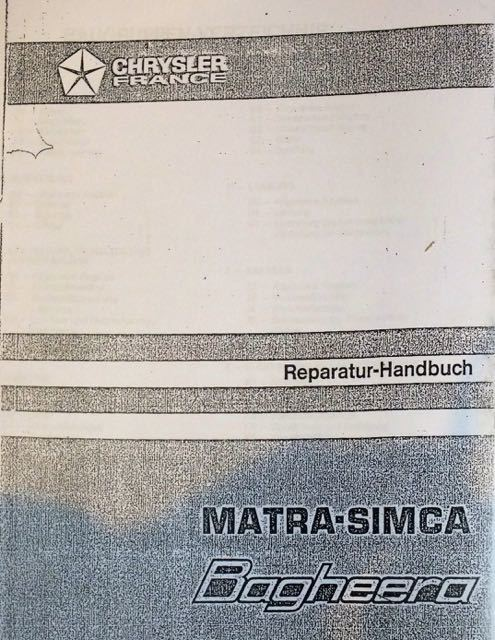 Workshop Manual Matra Bagheera German 23800