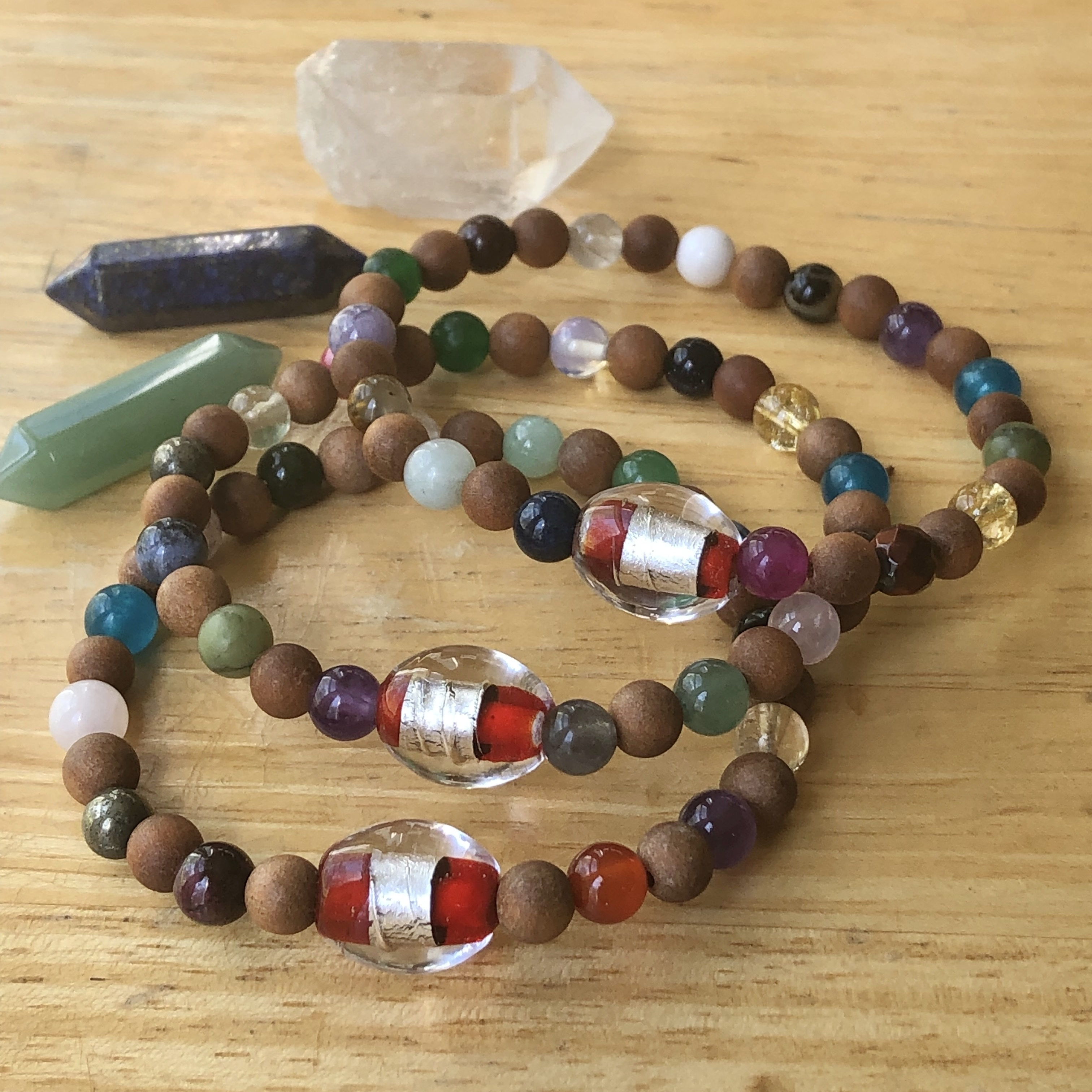 Lucky Fin Bracelet- Wood & Semiprecious stone *LIMITED EDITION * LFB-WDSP