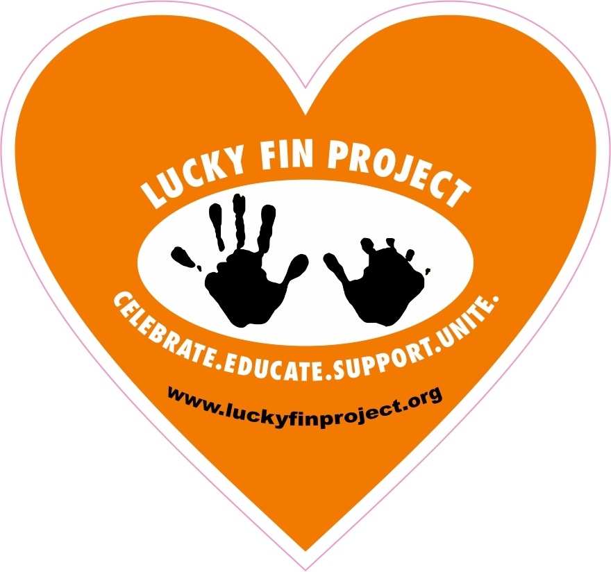 Lucky Fin Project Logo 4 x 6 inch Orange Heart Bumper Sticker LFP Heart-Orange