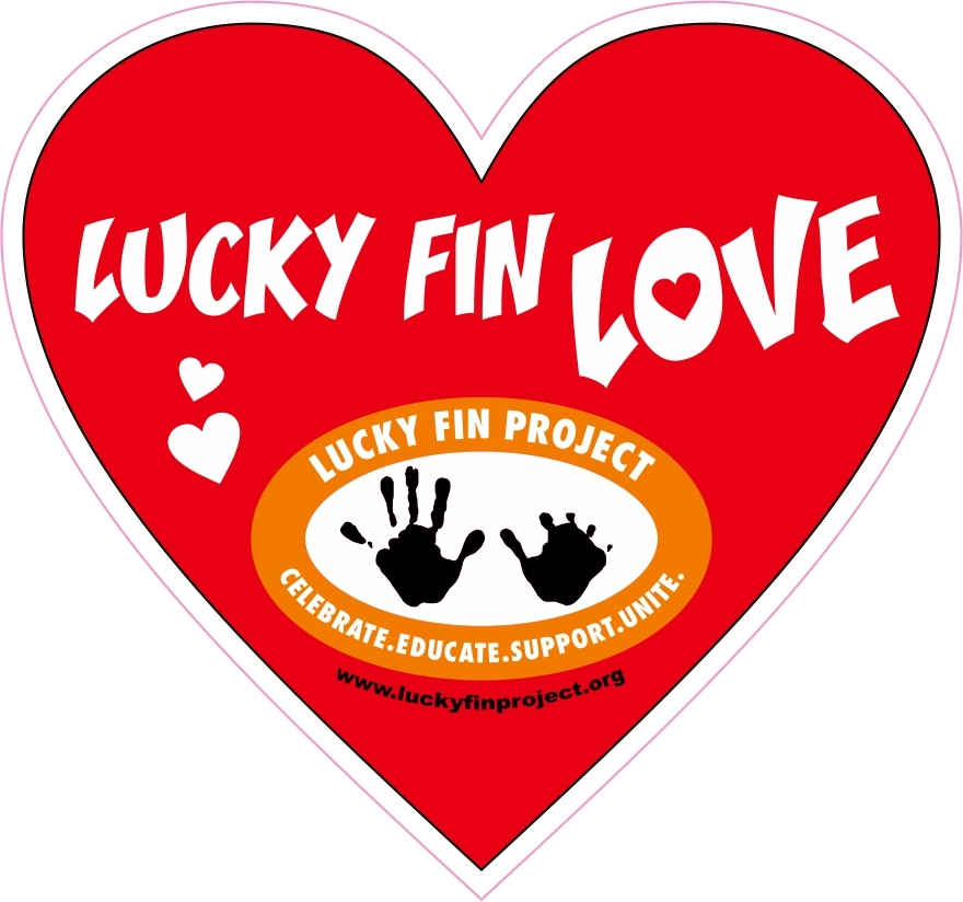 "Lucky Fin ""Love"" Red Heart 3 x 3 inch Bumper Sticker LFP-Red Heart"