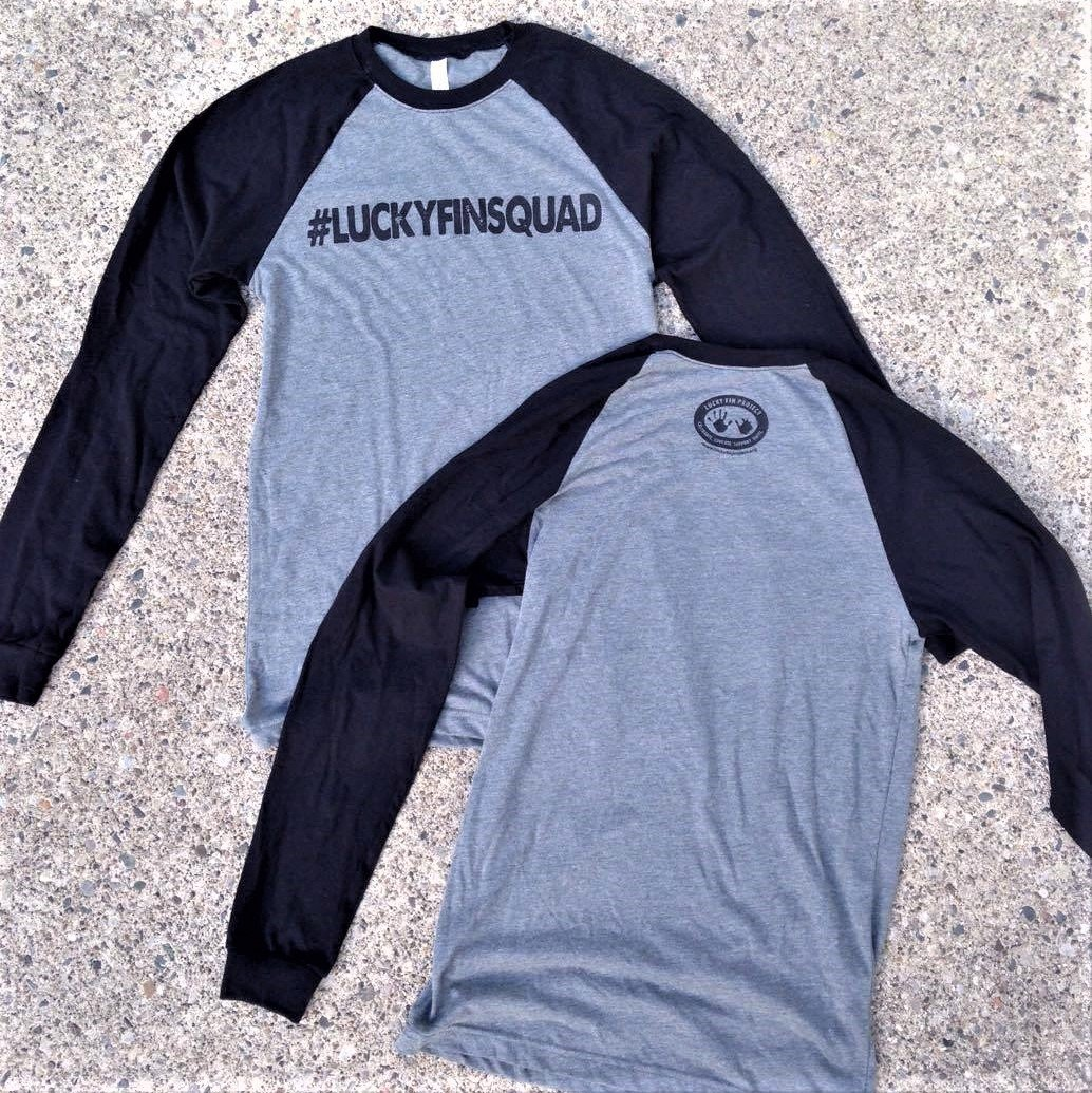 Unisex #LUCKYFINSQUAD  Long Sleeve Baseball Tee