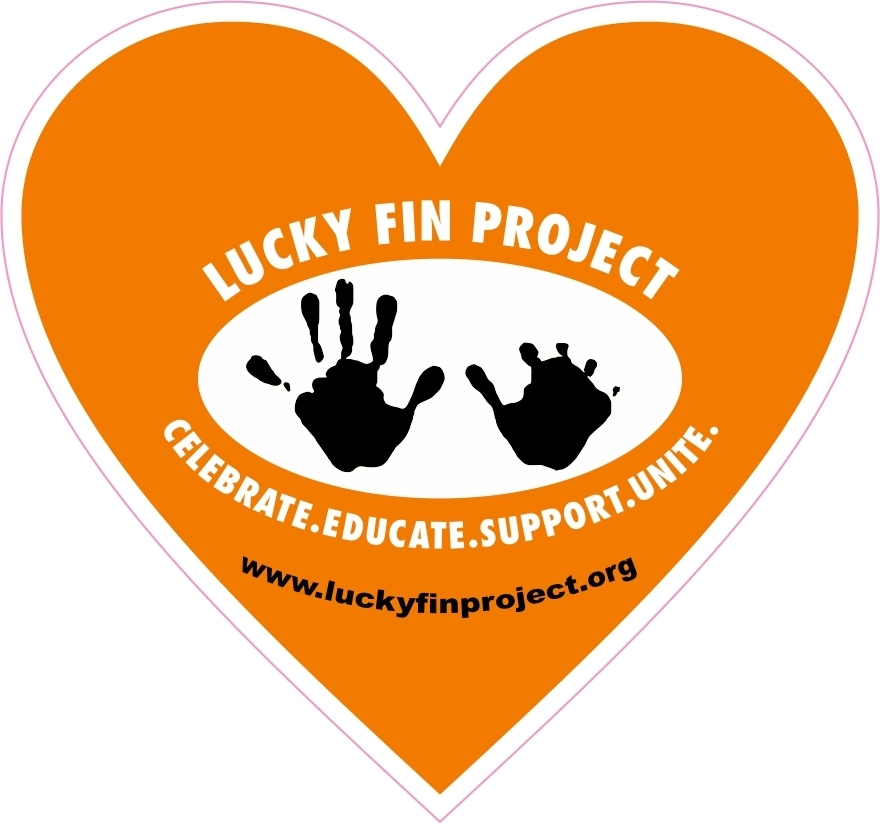 Lucky Fin Project Logo 4 x 6 inch Orange Heart Bumper Sticker LFP Heart-Orange