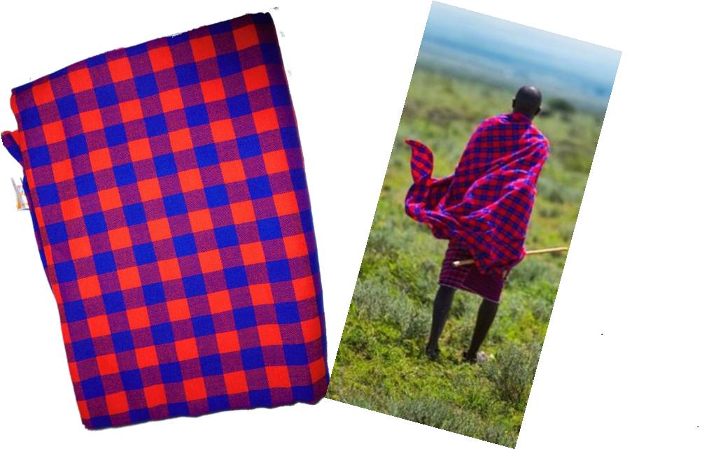 Red blue checked Masai shuka fabric
