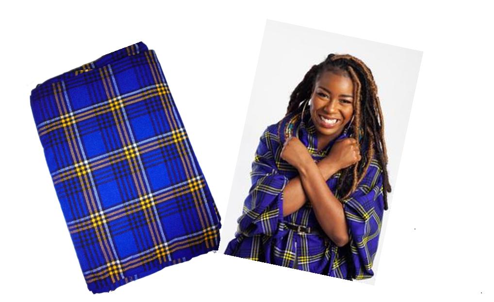 Dutch blue plaids Masai shuka fabric