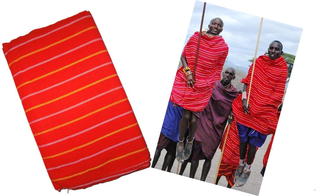 Red Masai shuka fabric with white and yellow stripes