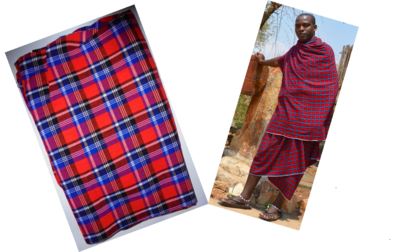 Red with blue plaids Masai shuka fabric