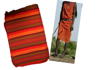 Multicolor multistriped Masai shuka fabric