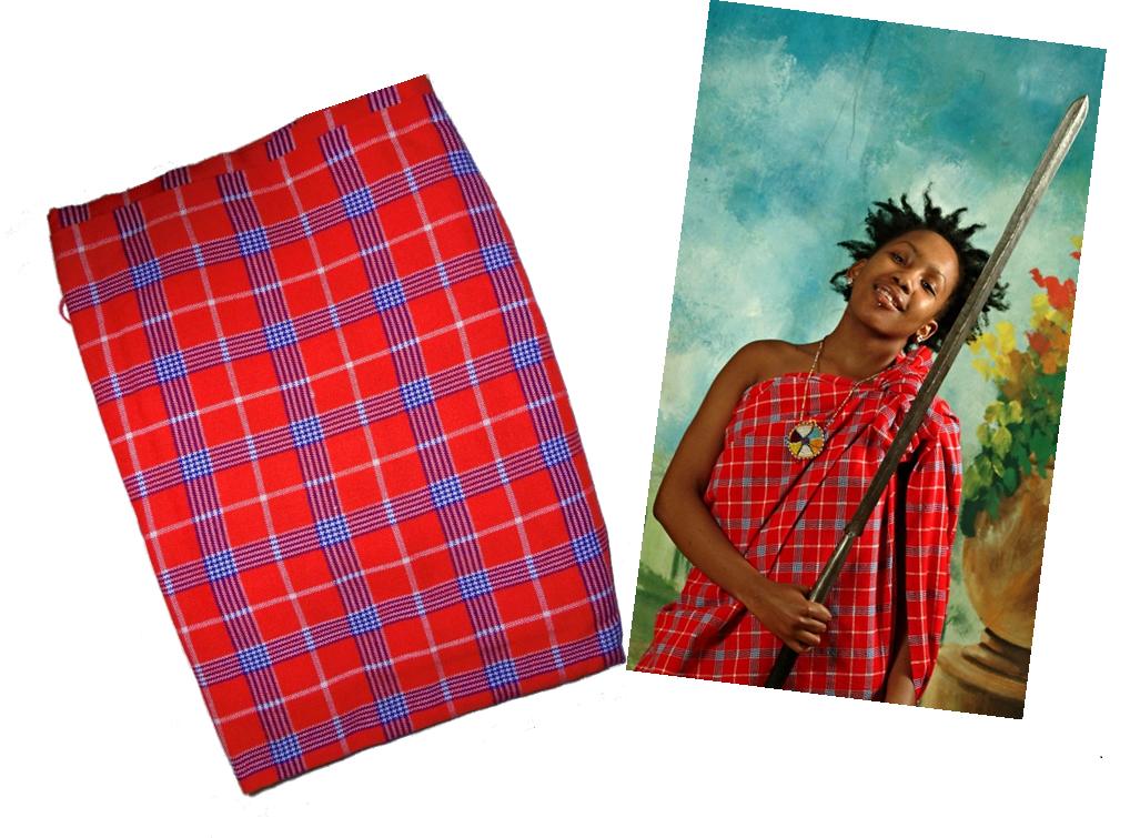 Red checked Masai shuka fabric