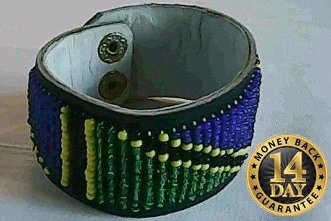 Masai/Maasai leather beads bracelet(A0010)