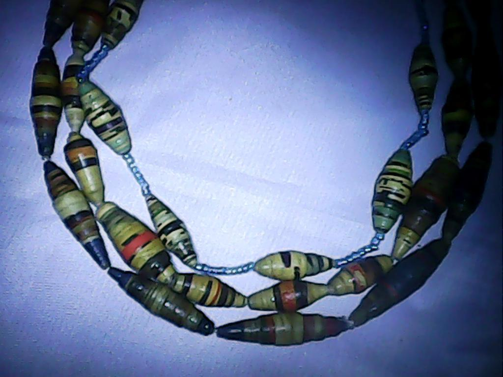Masai paper beads necklaces-PBN003