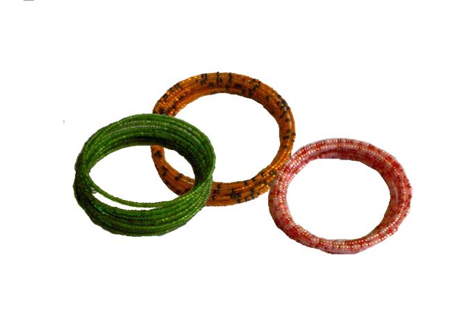 3 Masai spiral wire flexible beads bracelet-SWBB002