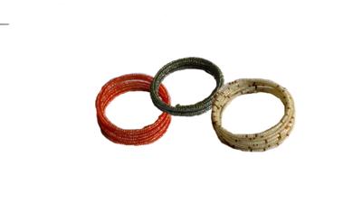3 Masai spiral wire flexible beads bracelet-SWBB003