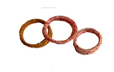 3 Masai spiral wire flexible beads bracelet-SWBB004
