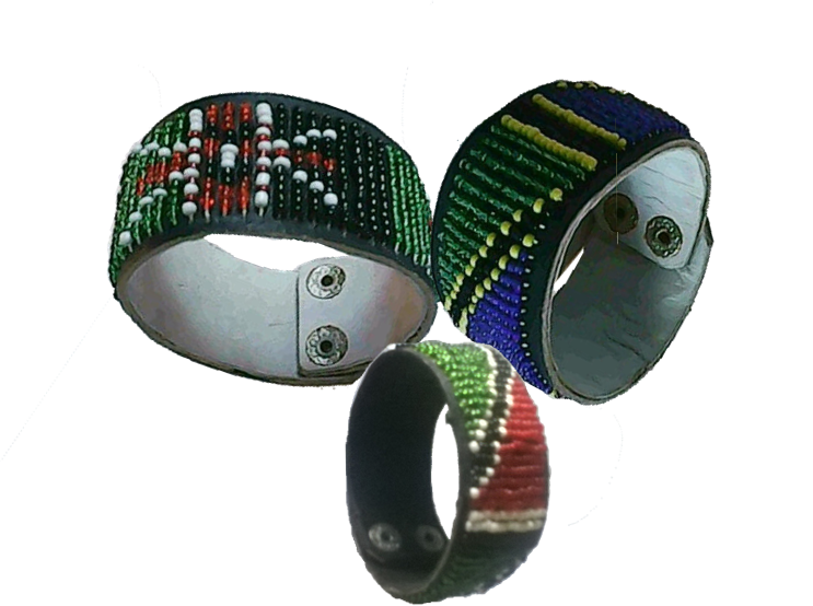 3 Masai beads leather bracelet-MBLB001