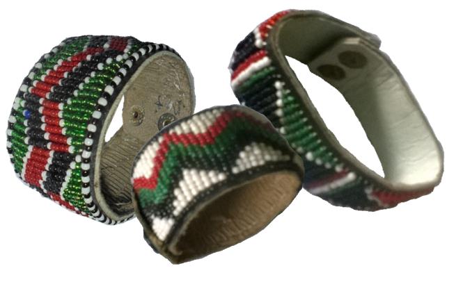 3 Masai beads leather bracelet-MBLB002