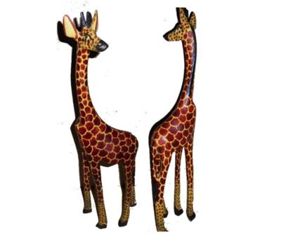 A pair of Giraffe wooden sculptures made in Kenya-GS001