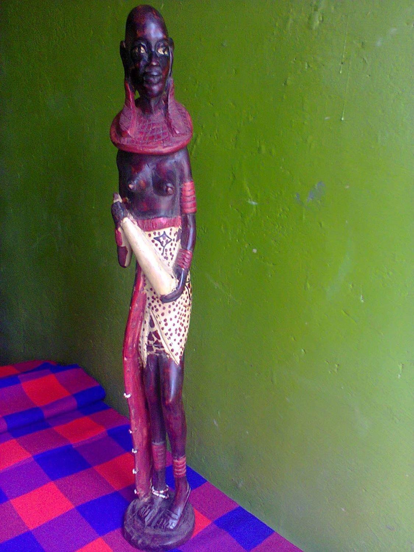 Authnetic original Masai woman wooden sculpture made in Kenya-25.5'' height