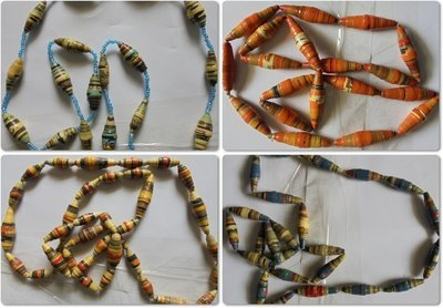 4 pieces Masai paper beads necklaces-MPBN001
