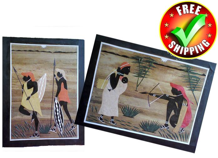 2 Pieces Banana fiber Mosaic art made in Kenya-Masai Hunting family