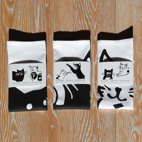CAT TEA TOWELS ABC – TORCHONS ABC – KÜCHENTÜCHER ABC