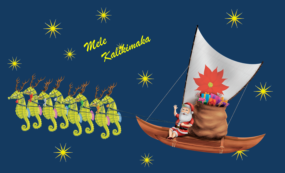 "Kupuna Klaus and Catamaran ""Poinsettia"" Poster - 8.5"" x 14"""