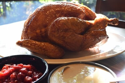 Wood-Fired Rotisserie Turkey with Gravy and Cranberry Relish