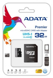 32GB AData Turbo microSDHC UHS-1 CL10 Memory Card w/SD - AUSDH32GUICL10RA1