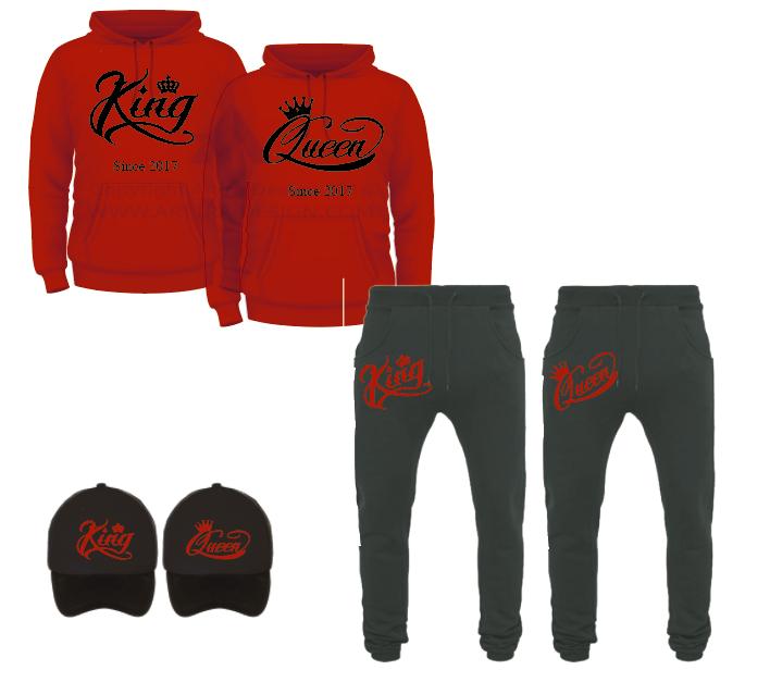 SET - King & Queen Smooth - rood & zwart 01311