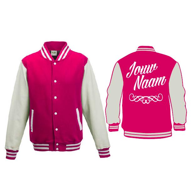 Baseball Jacket - roze/wit 01666