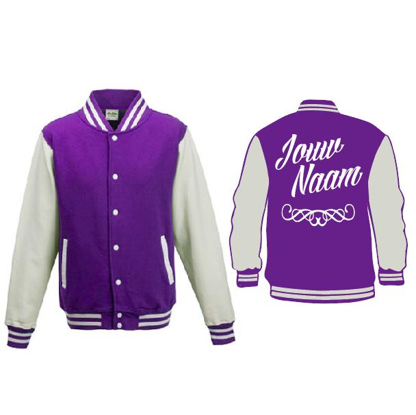 Baseball Jacket - paars/wit 01667