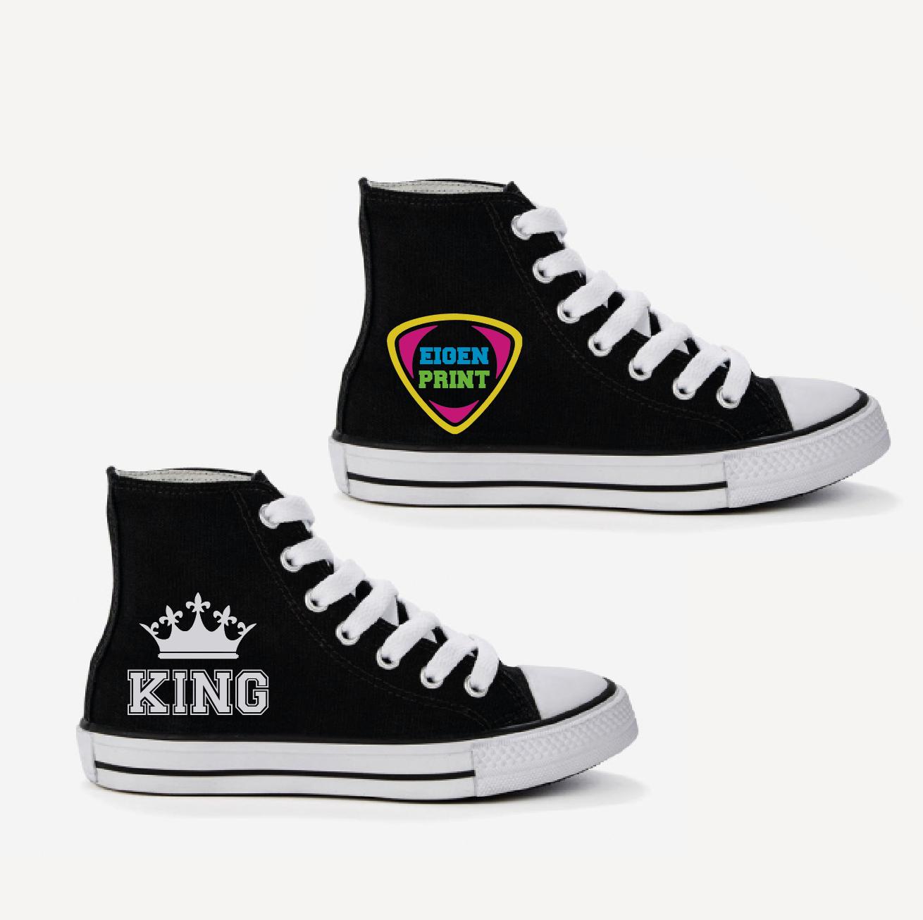 Sneakers met eigen opdruk - zwart 01799