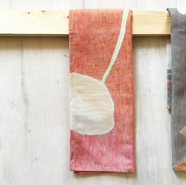 Tea Towel: Cream Flowers on Orange