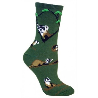 Black Footed Ferret Socks - Hunter Green