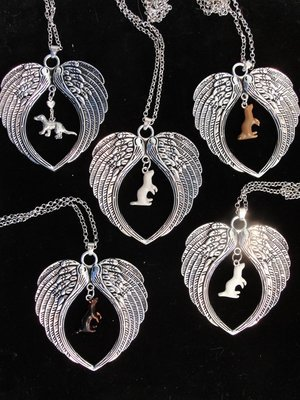Ferret with Wings Memorial Necklace