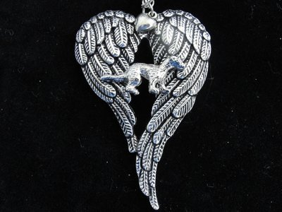 Pewtertone Ferret with Offset Wings Memorial Necklace