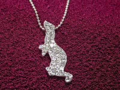 Ferret Clear Rhinestone Necklace - Small