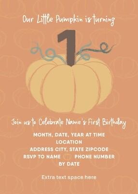 Fall 1st Birthday Invitation - Little Pumpkin - Orange - Customized