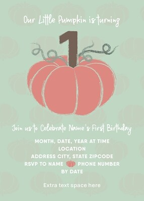 Fall 1st Birthday Invitation - Little Pumpkin - Mint & Peach - Customized
