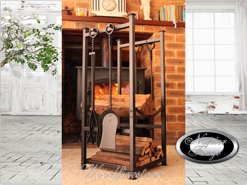 Ripplebrook Indoor Log Rack With Kindling Holder Fireptools Free