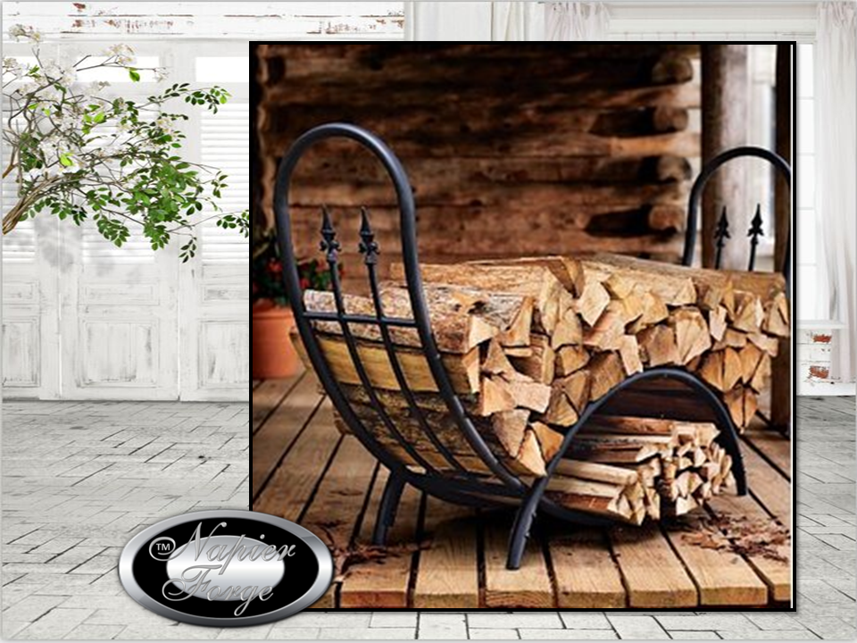 U0027Applewoodu0027 Wrought Iron Curved Alfresco Log Rack / Patio Wood Storage  *FREE SHIPPING