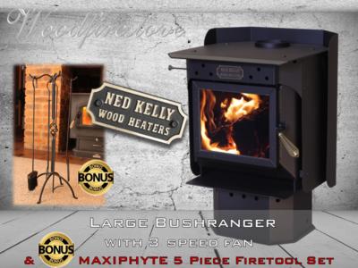 Ned Kelly Wood Heater LARGE BUSHRANGER with 3 speed fan PLUS Bonus MAXIPHYTE 5 Piece Toolset