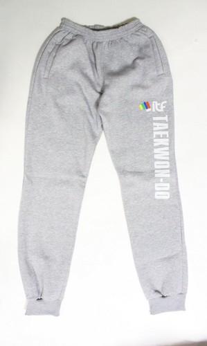 Штаны спортивные с надписью taekwondo. Серый. 100% Хлопок