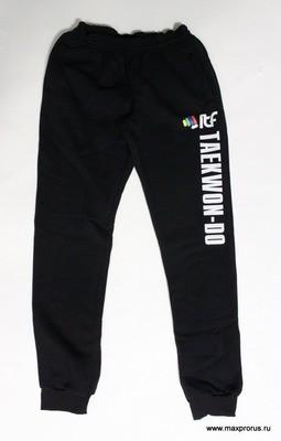 Штаны спортивные с надписью taekwondo. Чёрный. 100% Хлопок