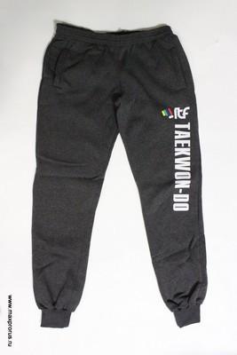 Штаны спортивные с надписью taekwondo. Тёмно-серый. 100% Хлопок