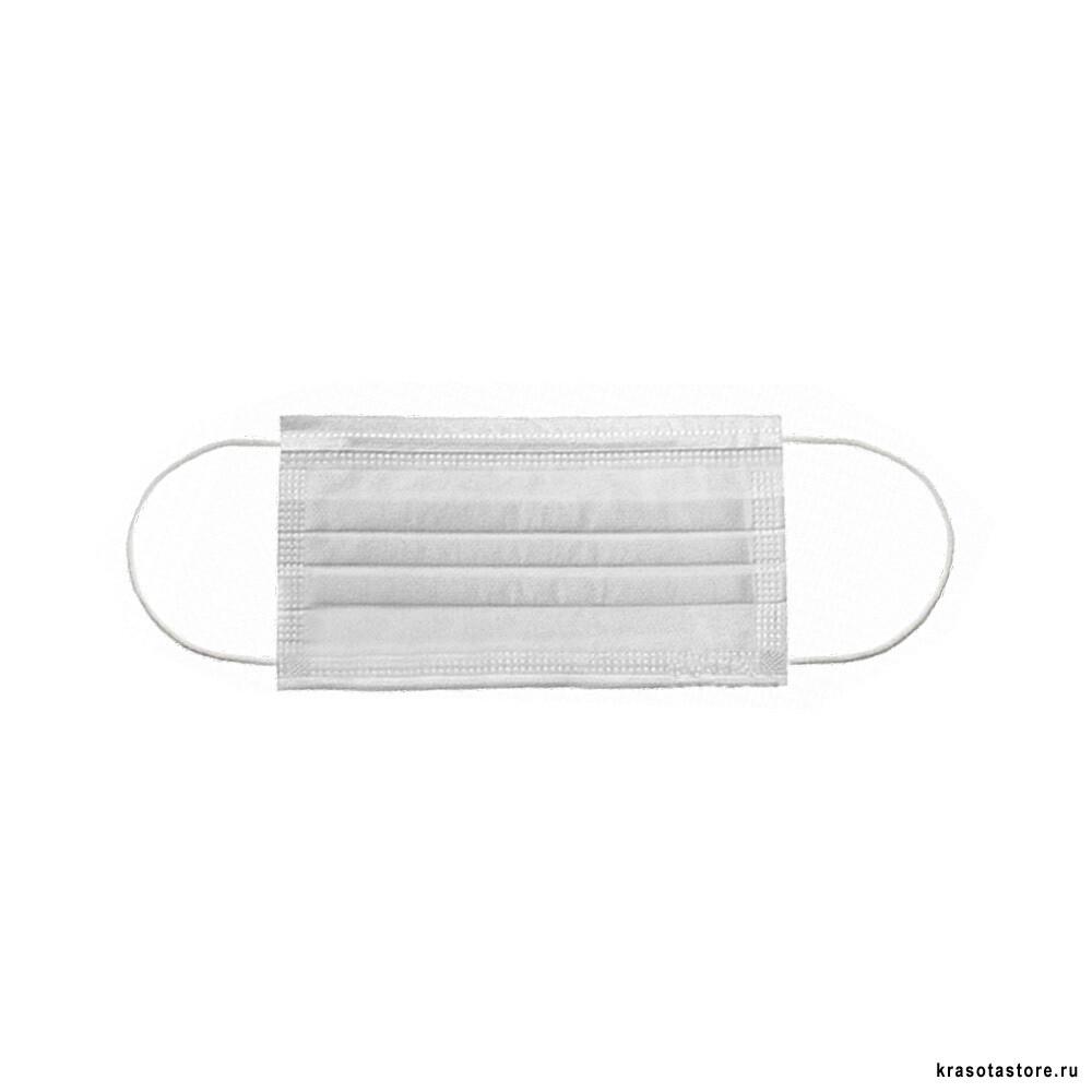 Маска трехслойная на резинках Эконом 50 шт белая