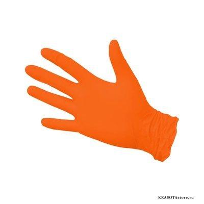 Перчатки нитриловые оранжевые размер M 50пар