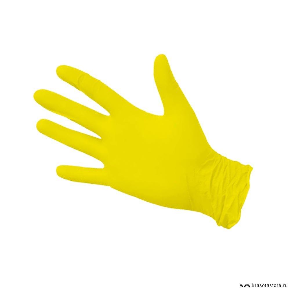 Перчатки нитриловые желтые размер S 50пар