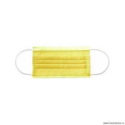 Маска трехслойная на резинках Эконом 50 шт желтая