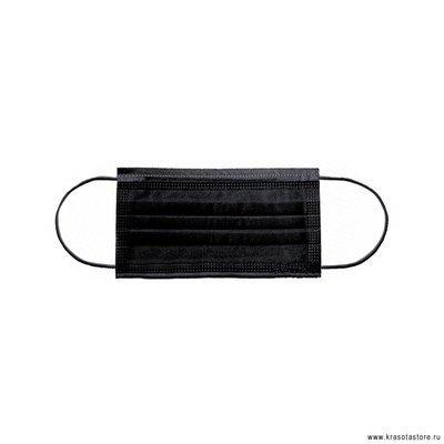 Маска трехслойная на резинках Эконом 50 шт черная
