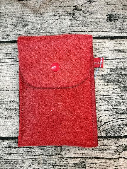 Handytasche aus rotem Kuhfell für Samsung S6
